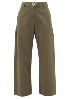 Valentino High-rise cotton-twill trousers