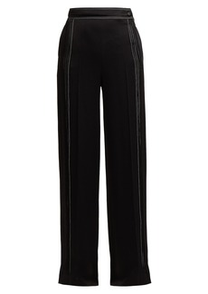Valentino High-rise hammered silk-satin wide-leg trousers