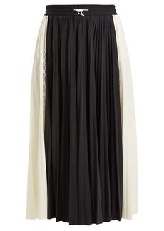 Valentino High-rise paneled pleated jersey midi skirt