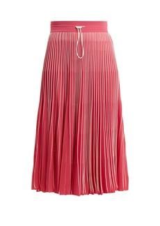 Valentino High-rise pleated jersey midi skirt
