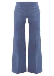 Valentino High-rise silk-satin straight-leg trousers