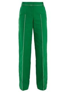 Valentino High-rise straight-leg cotton-blend trousers