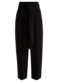 Valentino High-rise tie-waist silk-georgette trousers