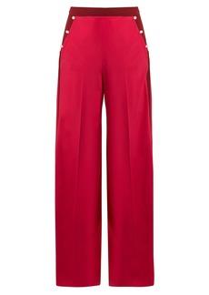 Valentino High-rise wide-leg silk crepe de Chine trousers