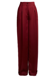 Valentino High-rise wide-leg silk-satin trousers