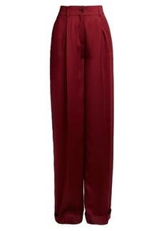 Valentino High-rise wide-leg silk-satin trousers