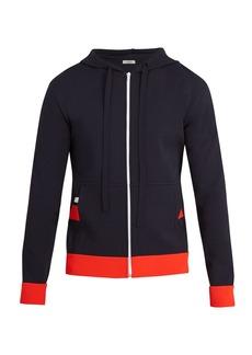 Valentino Hooded stripe-appliqué jersey zip-up sweatshirt