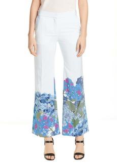 Valentino Hydrangea Print Silk Crêpe de Chine Pants