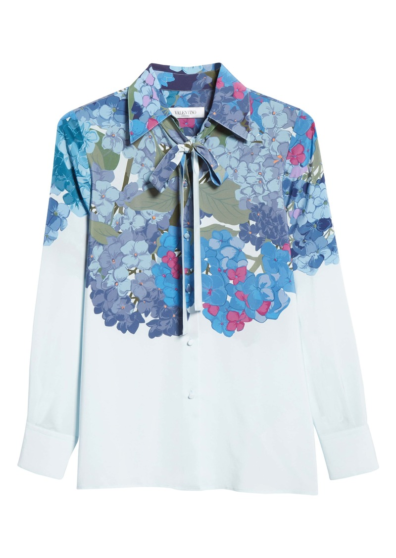 Valentino Hydrangea Print Silk Crêpe de Chine Tie Neck Blouse