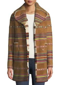 Valentino Intarsia Lamb Shearling Reversible Coat