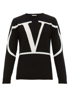 Valentino Intarsia-logo cashmere sweater