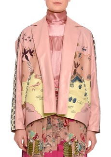 Jungle of Delight Embroidered Leather Jacket