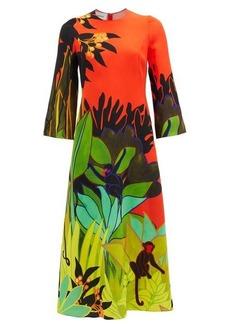 Valentino Jungle-print silk-cady dress