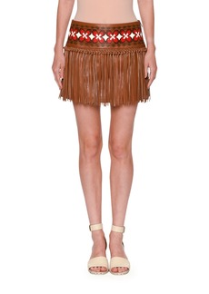 Valentino Knotted Fringe Leather Mini Skirt