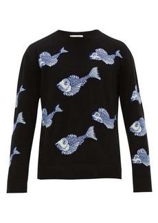 Valentino Koi pond-jacquard wool-blend sweater