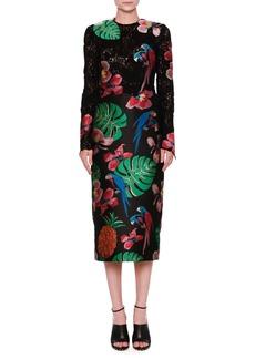 Valentino Lace & Brocade Long-Sleeve Dress