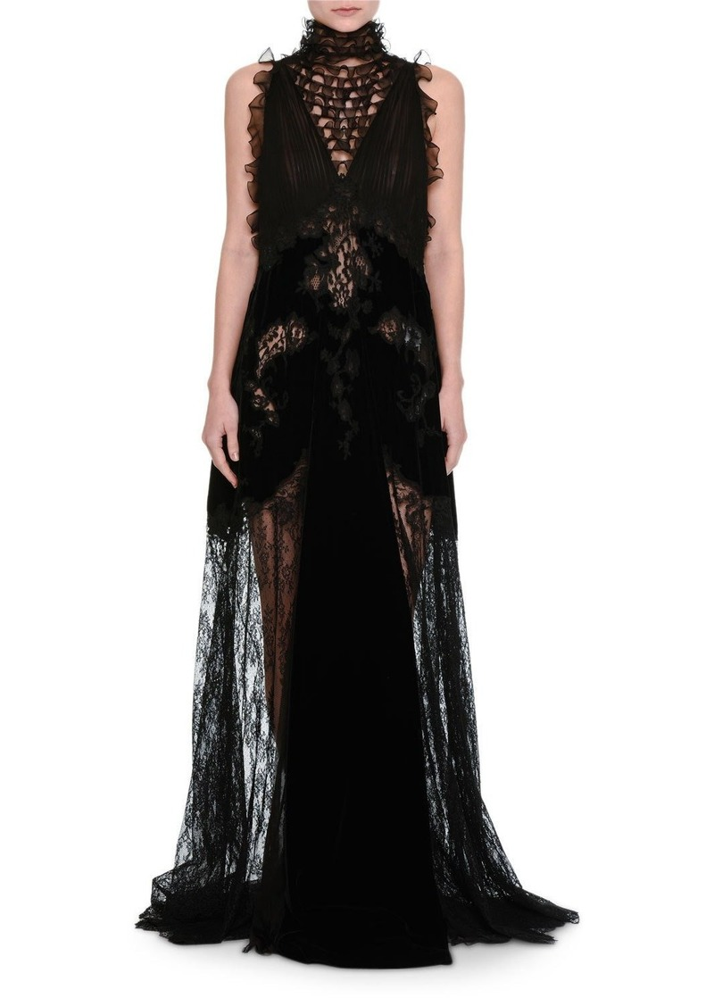 Valentino Lace & Chiffon Mock-Neck Gown with Velvet Trim | Dresses