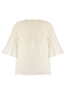 Valentino Lace-bib silk crepe de Chine top