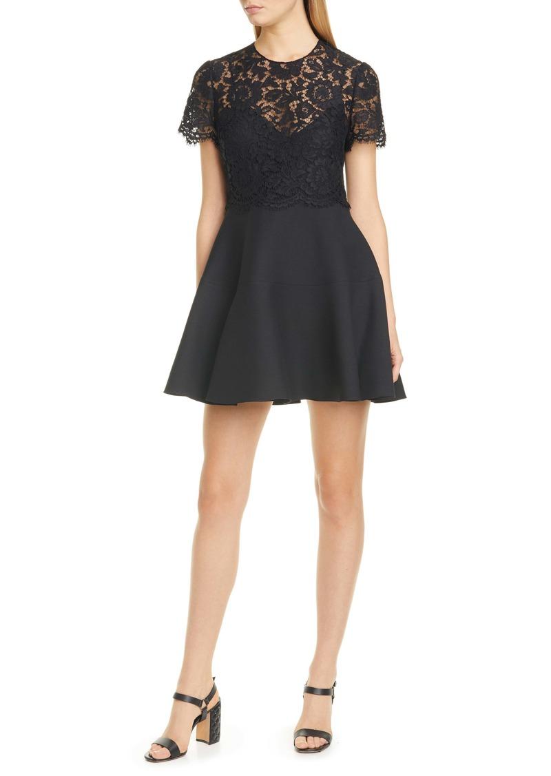 Valentino Lace Bodice Fit & Flare Minidress