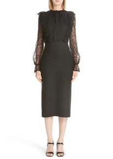 Valentino Lace Bodice Sheath Dress