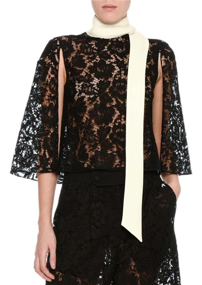 Valentino Lace Cape Top with Contrast Scarf