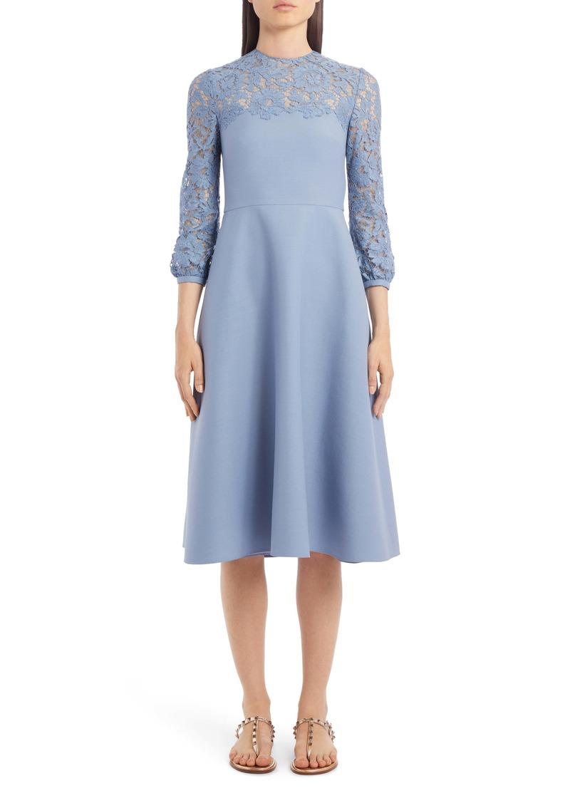 Valentino Lace Contrast Wool & Silk Midi Dress