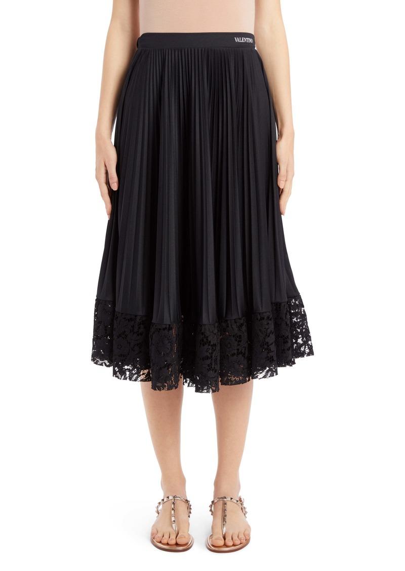 Valentino Lace Hem Pleated Midi Skirt