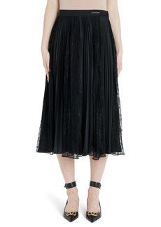 Valentino Lace Panel Jersey Plissé Midi Skirt