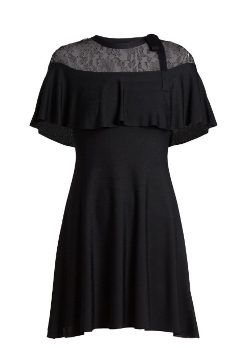 Valentino Lace-panel knitted-jersey dress
