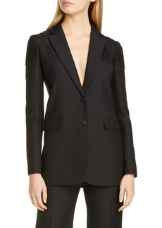 Valentino Lace Shoulder Wool & Silk Blazer