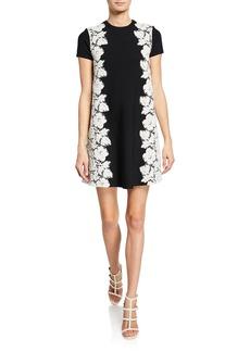 Valentino Lace-Side Short-Sleeve Knit Dress