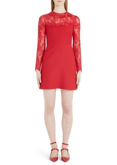 Valentino Lace Trim Long Sleeve Wool & Silk Minidress