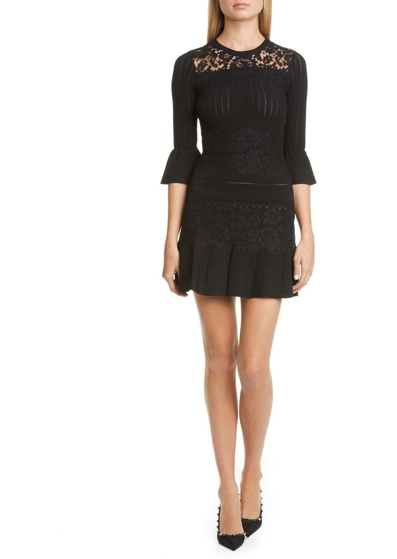 Valentino Lace Trim Sweater Dress