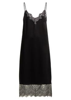 Valentino Lace-trimmed hammered silk-satin slip dress