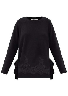 Valentino Lace-trimmed wool-blend sweater