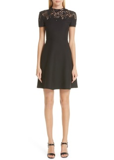 Valentino Lace Yoke Wool & Silk A-Line Dress