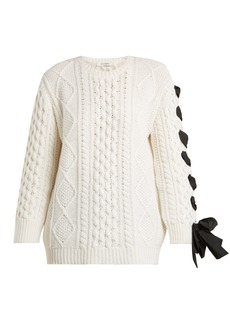 Valentino Laced cable-knit wool sweater