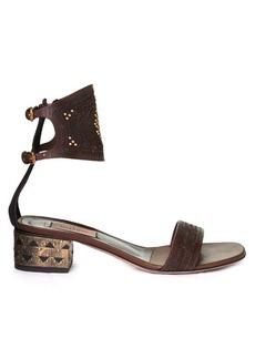 Valentino Laser-cut leather block-heel sandals
