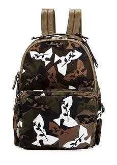 Valentino Leaf-Print Fabric Backpack