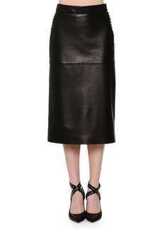 Valentino Leather Pencil Skirt w/Studded Sides