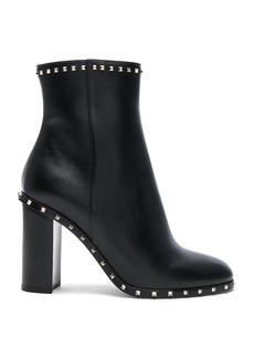 Valentino Leather Rockstud Trim Booties