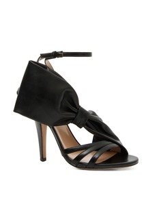 Valentino Leather Side Bow Ankle Strap Sandals