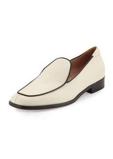 Valentino Leather Square-Toe Loafer