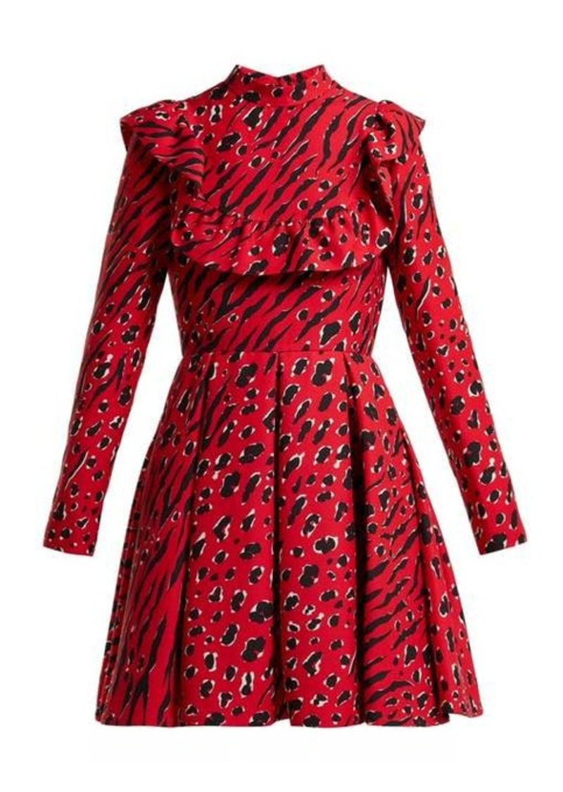 Valentino Leopard and tiger-print wool-blend skater dress