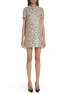 Valentino Leopard Print Brocade A-Line Dress
