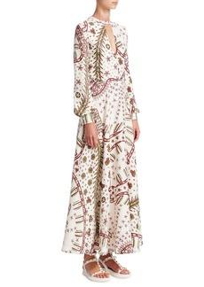 Valentino Leopard-Print Long Keyhole Dress