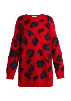 Valentino Leopard-print mohair-blend sweater