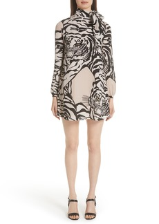 Valentino Leopard Print Silk Shift Dress