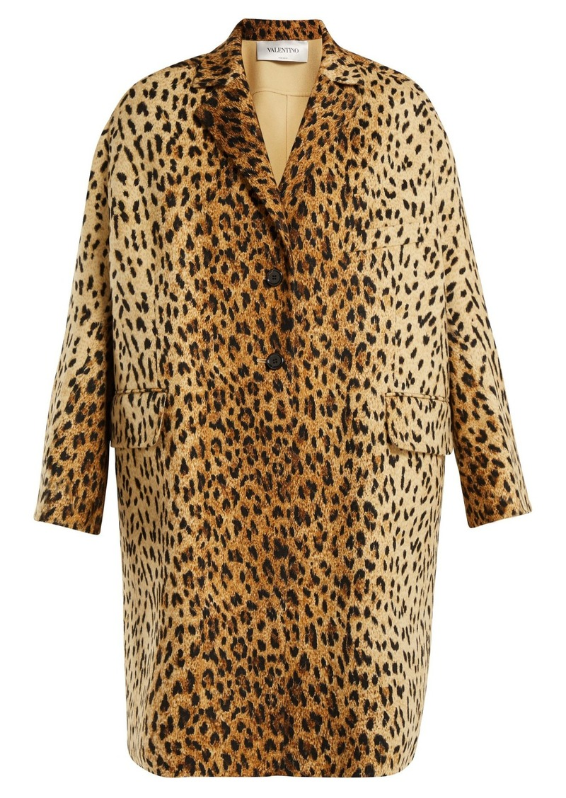 412a3d001794 SALE! Valentino Valentino Leopard-print wool-blend coat