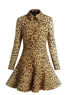 Valentino Leopard-print wool-silk crepe dress